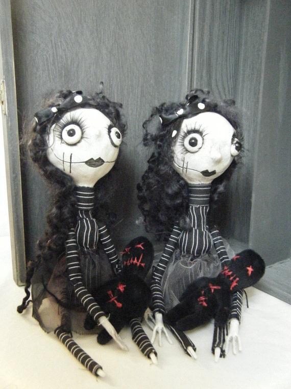 Handmade Gothic Harajuku Fashion W H Naoto Spiderweb Bag: Handmade Gothic Ooak Creepy Gothic Rag Art Dolls The