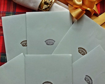 12 String and Button Gift Envelopes: Luxury Envelopes With Gold & Silver Embossed Crown