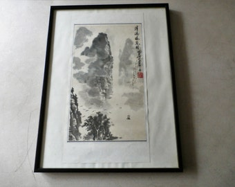 Vintage Oriental Water Color Black and White Print