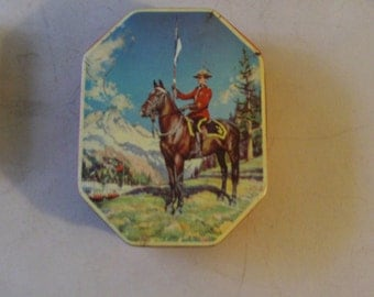 Vintage Horner Lithographed Candy Tin - Royal Canadian Mounted Policeman