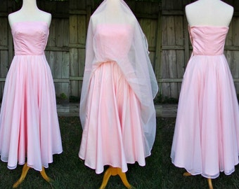 vintage 50s pink swiss dot full sweep dress ball gown cotillion dress boned size 3 b30 dated eclectic angels