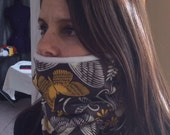 Yellow Gray Flower Running Scarf, cowl, gator, Ski Mask