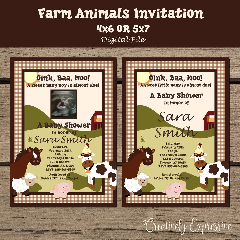 farm animals baby shower invitation barnyard baby shower