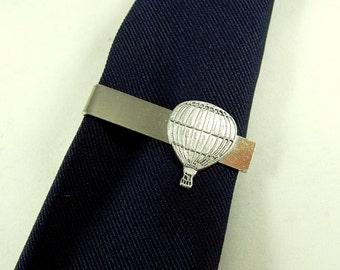 Tie Bar Tie Clip,  Mens Steampunk Vintage Style Hot Air Balloon Silver  Mens Accessories Handmade
