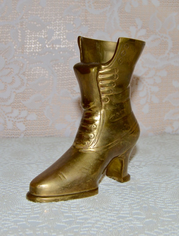 Brass Boot Vase Shoe Planter Victorian Lace Up High Heeled