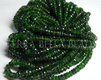"""7"""" half strand rare CHROME DIOPSIDE faceted gemstone rondelle beads 3mm - 4mm green"""