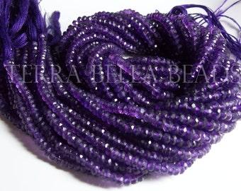 "Full 13"" strand purple AMETHYST faceted gem stone rondelle beads 3.5mm - 4mm"
