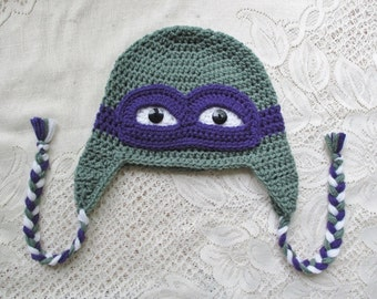 Turtle Crochet Winter Hat or Photo Prop - Available in Any Size or Any Color Combination