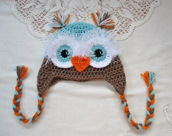 Aqua, Medium Brown and Orange Crochet Owl Hat - Photo Prop - Available in Any Size or Color Combination