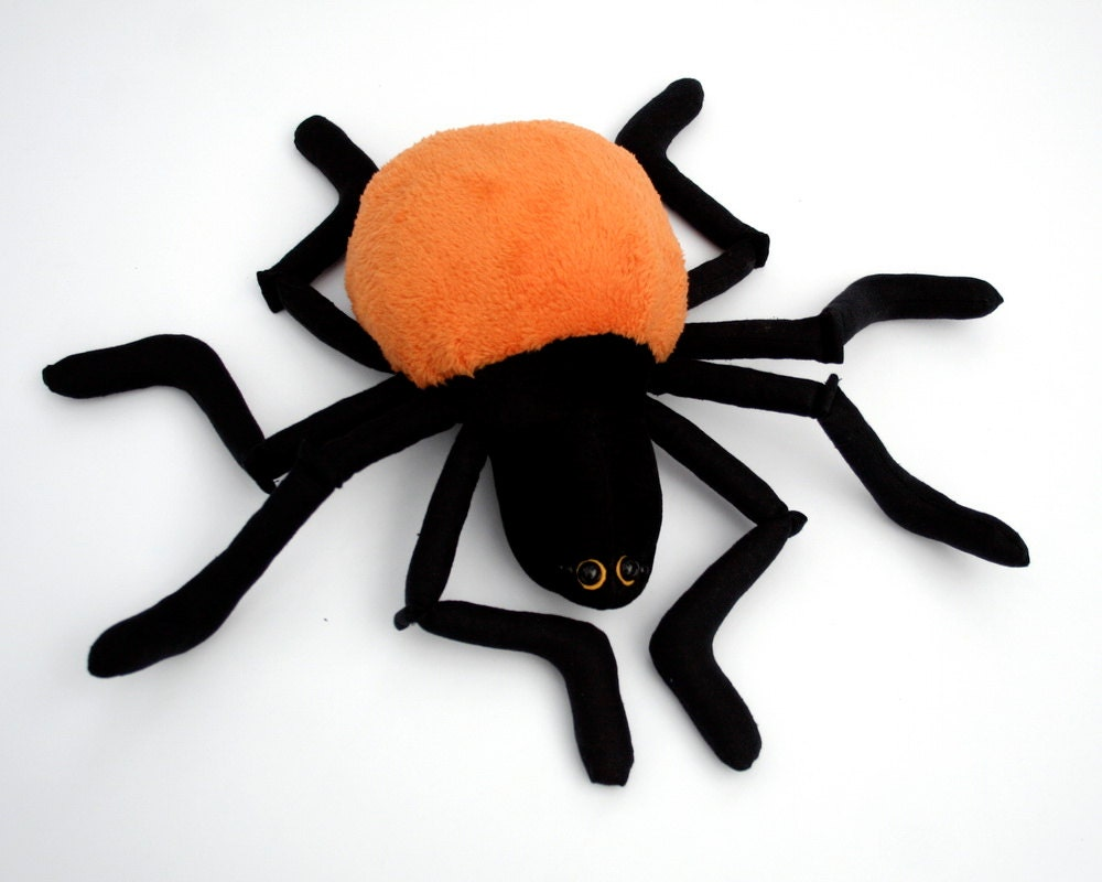 Plushie Spider, red or orange - Halloween Plush, Plushie Spider, Stuffed Animal, Funny Soft Toy