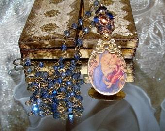 Mary and Christ vintage art print image artisan pendant prayer necklace Sacred Jewelry Pamelia Designs