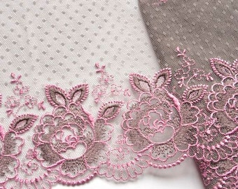 Grey Pink Lace Trim, Seal Brown Lace, Grey Floral Lace Trim, mantilla, Lingerie, Dolls, Lace Sewing