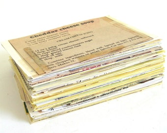 Vintage Recipe Clippings from magazines, newspapers, food packages, etc, & Recipe Cards