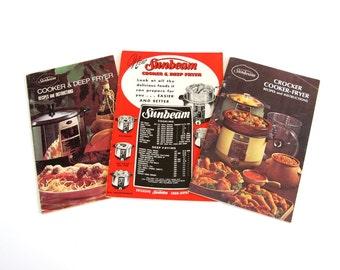 Sunbeam Crocker Cooker Fryer Instruction Booklet Recipe Book, or Deep Fryer Cooker Owner's Manual Cookbook