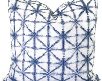 Indigo and White Shibori Decorative Pillow Cover  18x18, 20x20, 22x22, Eurosham 14x20 or 12x24  Blue White Tie Dye Pillow, Boho decor