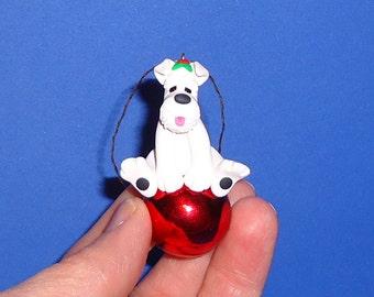 Polymer Clay White Schnauzer Dog on Glass Ball Ornament