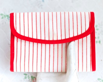 Red and White Stripes Wallet - Canvas Nautical Purse