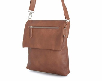 Leather Messenger Bag with Silver Zippers, Handmade in Brown Vegan Leather  - the Maire - sale with coupon code TRACBAG30OFF345