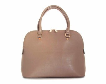 Leather Handbag Shoulder Bag in Vegan Leather Taupe Handmade -  the Masek - sale with coupon code TRACBAG30OFF345