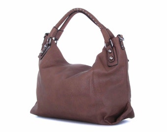 Leather Tote Hobo Shoulder Bag Handbag in Vegan Leather Brown Handmade - the Bethan - sale with coupon code TRACBAG30OFF345