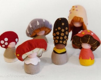 Autumn 6 pack of felt mushroom dolls, Felt decor, Handmade felt toys, Wool felt animals, Organic toys