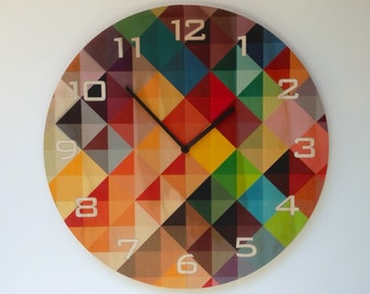 Objectify Grid2 With Numerals Plywood Wall Clock - Large