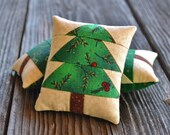 Christmas Tree Decorative Pillows - Quilted Bowl Fillers -  Green Tucks - Gold Stars - Holly Leaves Berries - Holiday Home Decor