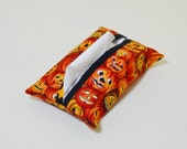 Fabric Tissue Holder - Pocket Tissue Pouch - Tissue Cover - Purse Accessory - Halloween - Jack-O-Lantern - Pumpkins - Black Orange - Gift