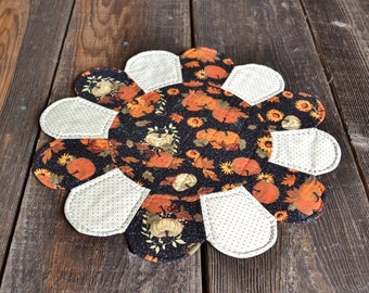 Fall Harvest Table Topper, Autumn Dresden Plate Table Mat, Pumpkin Candle Mat, Hand Quilted Seasonal Home Decor, Orange Black Polka Dot