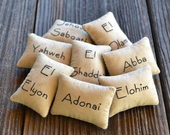Hebrew Names of God Decorative Pillows - Religious Bowl Fillers - Old Testament Bible Scripture - Primitive - Home Decor - Black Gingham