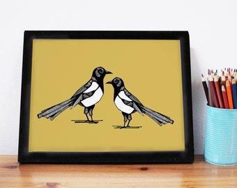 Magpie Print - magpie illustration - yellow print - wedding gift - anniversary gift - good luck gift - bird art - magpie art - home decor