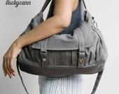 Summer Sale 20% OFF// ASTER // Dark Grey / Lined with Beige / 011 // Ship in 3 days // Messenger / Diaper bag / Shoulder bag / Tote bag / Pu