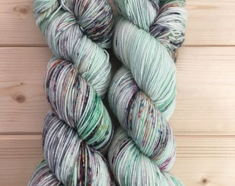 Minty Fresh Graffiti - Hand Dyed Merino Fingering Yarn Kabuki
