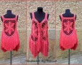 Coral Bohemian Vest, Circle Wrap Boho,  Gypsy Shrug Women, Hippie Clothes, Summer Festival Wear, Mandala Vest With Fringe, Circular Sweater
