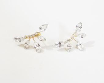 crystal Stud Earrings, Gold Studs Earrings, Crystal Cluster Earrings, Cluster Earrings, Rhinestone Earrings, Gold Cluster Earrings, Mini