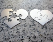 "3 Pc. Set Puzzle Heart Stamping Blanks, 1 3/8"" x 1 1/8"" (34mm x 29mm), 22g Stainless Steel - AWESOME Silver Alternative PZHT11-09"