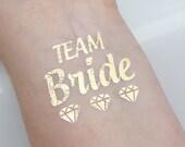 Set of 10 Bachelorette Party Favor, Team Bride Gold Metallic Flash Bachelorette Tattoos - Bachelorette Tattoo Gold - Metallic Gold Tattoo