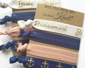 Will You be my Bridesmaid Card - Bridesmaid Gift - Bridesmaid Proposal - Bridesmaid Hair Tie Favors - Help Me Tie the Knot Hair Tie Favors