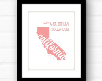 California wall art | California print | California art print | California state art | California state sign | Los Angeles | San Fran