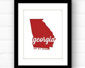 Georgia on My Mind | Georgia art | Georgia print | Georgia decor | Georgia Peach | Atlanta, GA | Augusta, GA | Athens, GA | Savannah ga