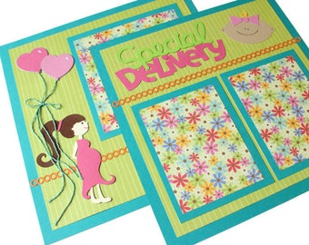 "Two premade scrapbook pages - ""Special Delivery"""