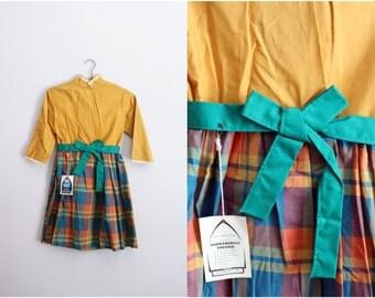 50s Vintage Plaid Color block Bow Dress / Children Dress / Cotton Dress / Girls Vintage Dress/ Size 12
