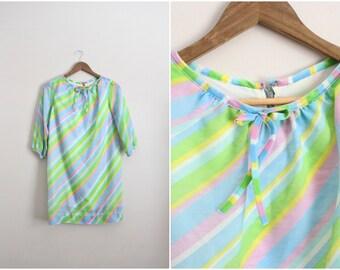 70s Rainbow Pussy Bow Dress / Mini Dress / Size S/M