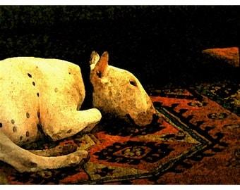 Bull Terrier Digital Print Fireside + matted print options