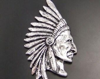 "2pcs-2.25"" Indian head charm pendant-Antique silver metal Charm pendant beads"