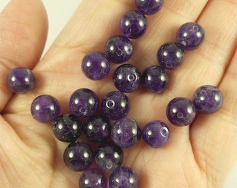 "20pcs, 6""-8mm-Natural Untreated Amethyst gemstone loose beads"