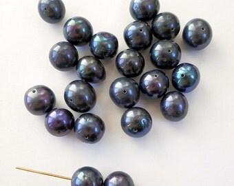 "6.5"", 18pcs-10mm-11mm black Pearls-Genuine fresh water Pearl loose beads"