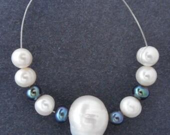 11pcs-15mm big size Pearl, black pearls, white ivory Genuine fresh water Pearl pendant , focal beads set