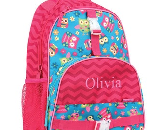 Personalized Chevron Owl Backpack [back to school, backpack, book bag, school bag, owl, pink, girl, colorful, personalized] -gfyE000255