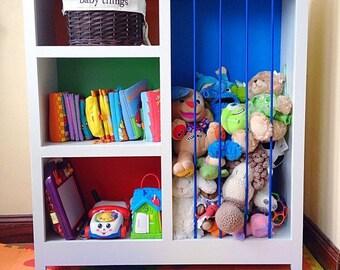 Children's bookshelf and stuffed animal zoo